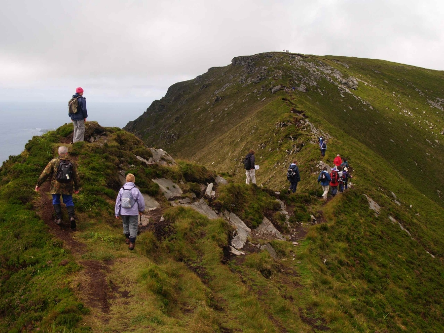 Hill walking on Slieve League.