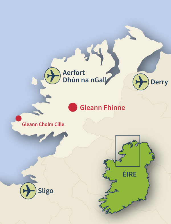 Where to find Glenfin, Co. Donegal.